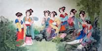 Chinese Dream of the Red Chamber Beauties & Figures Painting