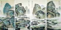 Chinese Four Screens of Landscapes Paintings
