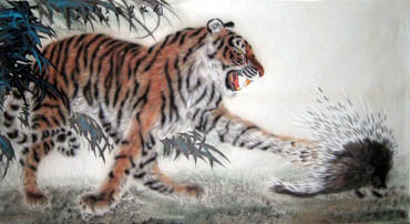 Chinese Tiger Painting,97cm x 180cm,4514003-x