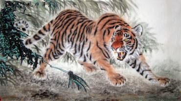 Chinese Tiger Painting,97cm x 180cm,4514004-x