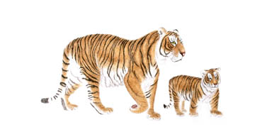 Chinese Tiger Painting,66cm x 130cm,4697002-x