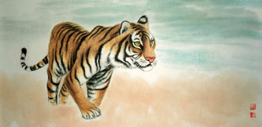 Chinese Tiger Painting,45cm x 92cm,4733026-x