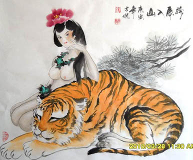 Chinese Tiger Painting,69cm x 69cm,4745004-x