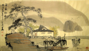 Chinese Village Countryside Painting,45cm x 100cm,1579001-x